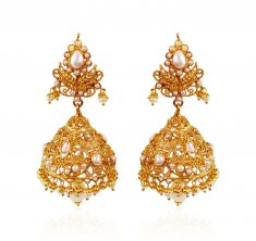 22kt Gold Pearl Jhumki ( Precious Stone Earrings )