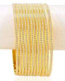 22K Gold Rhodium Bangle (12 PCS) ( Two Tone Bangles )