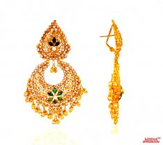 22k Gold Chandbali Earrings ( 22Kt Gold Fancy Earrings )