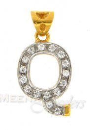 22Kt Gold Pendant with Initial(Q) ( Initial Pendants )