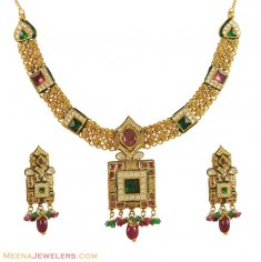 Kundan Necklace Set (22K Gold) ( Antique Necklace Sets )