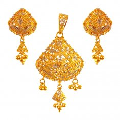 22kt Gold Two Tone Pendant Set ( Gold Pendant Sets )