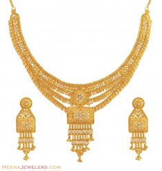 22K Gold Necklace Set (with CZ) ( 22 Kt Gold Sets )