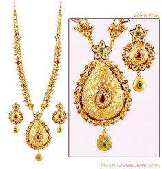 22 K Gold Antique Patta Haar ( Bridal Necklace Sets )