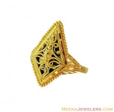 22K Gold Fancy Meenakari Ring ( Ladies Gold Ring )