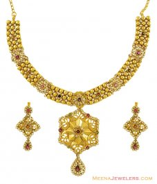 22K Antique Polki Necklace Set ( Antique Necklace Sets )
