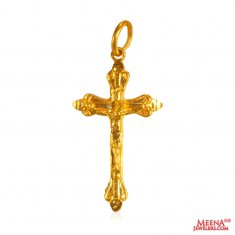 22kt Gold Cross Jesus  Pendant  ( Jesus Cross Pendants )