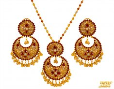 22K Ruby Pearl Studded Pendant Set ( Fancy Pendant Set )