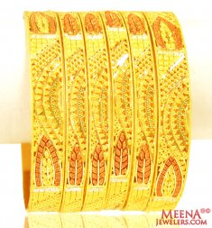 22Kt Gold Three Tone Bangles (6PCs) ( Set of Bangles )