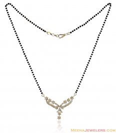 18K White Gold Floral Mangalsutra ( Diamond MangalSutras )