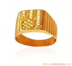 22K Solid Gold Mens Ring