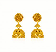 22 kt Gold Jumki Earrings ( Precious Stone Earrings )