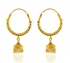 22K Gold Meenakari Hoops ( Hoop Earrings )