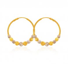22kt Gold Two Tone Bali for Ladies ( Hoop Earrings )