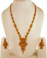 22k Gold Long Necklace Earring Set